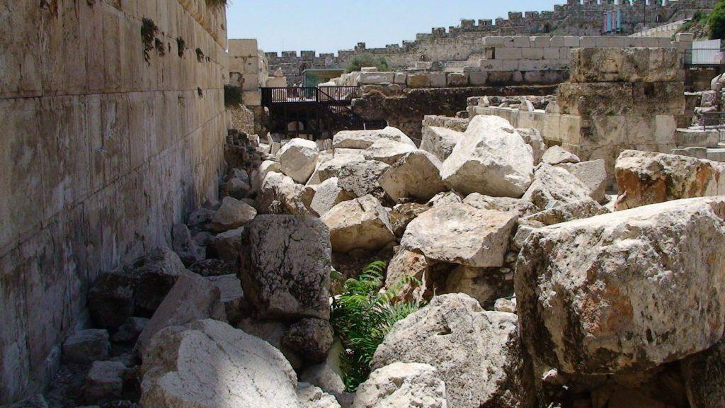 Destruction of temple, fallen stones